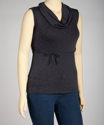 Gray Cowl Neck Sleeveless Top - Plus