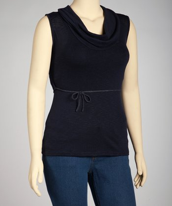 Navy Cowl Neck Sleeveless Top - Plus