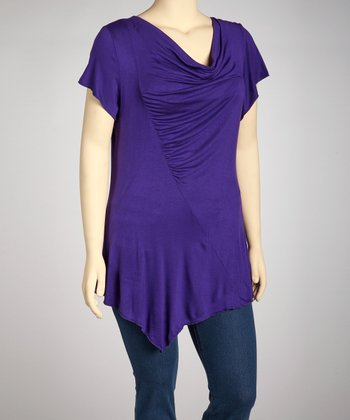 Purple Cowl Neck Asymmetrical Top - Plus