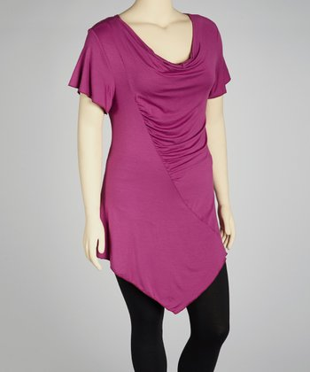 Magenta Cowl Neck Asymmetrical Top - Plus