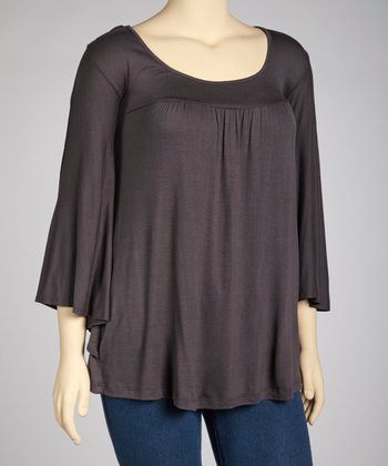 Gray Scoop Neck Top - Plus
