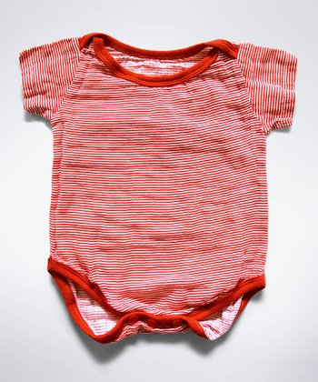 Red Stripe Muslin Bodysuit