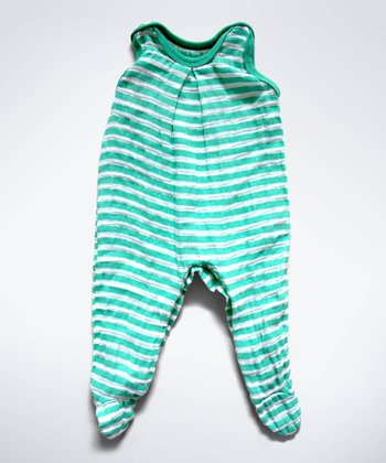 Green Stripe Muslin Sleeveless Footie - Infant