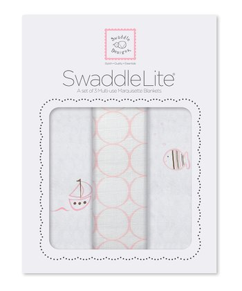 Pastel Pink Sailboat & Fish Swaddling Blanket Set