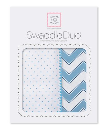 Blue Zigzag & Polka Dot Blanket Set