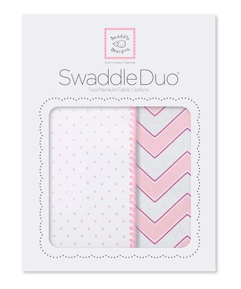 Pink Zigzag & Polka Dot Blanket Set