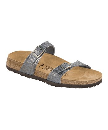 Denim Glitter & Splash Silver Birko-Flor Tahiti Slide - Women
