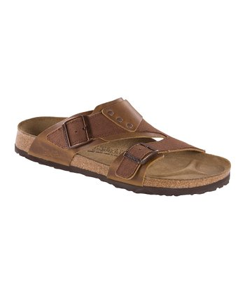 Mocha Leather Finn Slide - Men