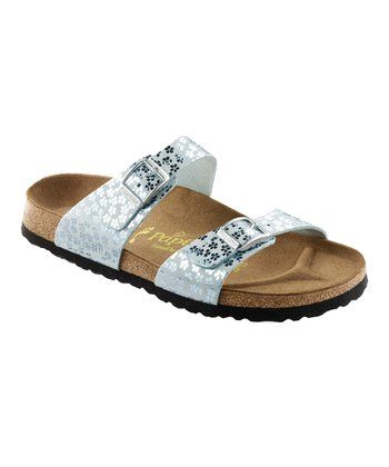 Mint Glitter Flower Sydney Slide - Women