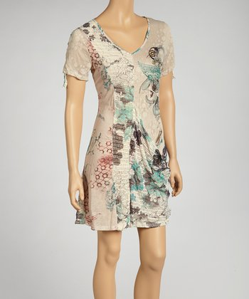 Taupe & Aqua Abstract Floral Tunic