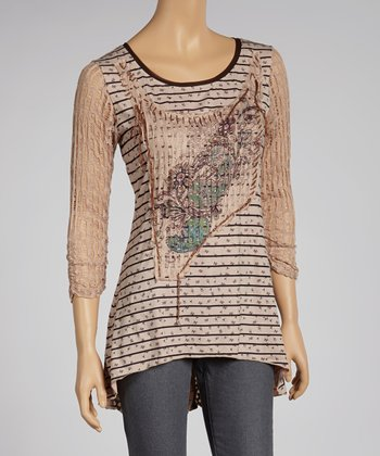 Blue & Tan Patchwork Stripe Long-Sleeve Top