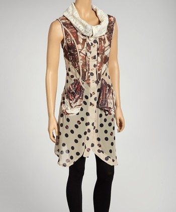 Black & Tan Polka Dot Button-Up Sleeveless Tunic