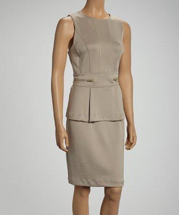 Shelby & Palmer Tan Zipper Peplum Dress