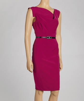 Violet Belted Cap-Sleeve Dress