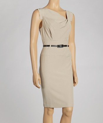 Oyster Belted Cap-Sleeve Dress