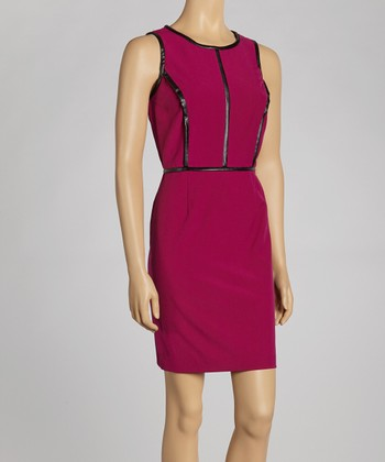 Violet Contrast Seam Sheath Dress