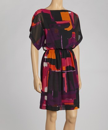 Black & Orange Watercolor Dress