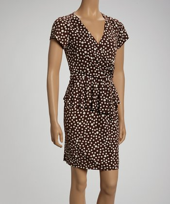 Brown & Off White Dot Surplice Dress