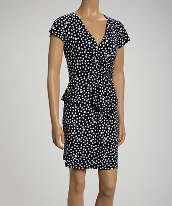 Indigo & Beige Dot Surplice Dress