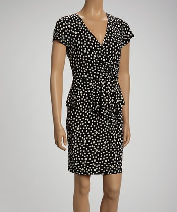 Black & Beige Dot Surplice Dress
