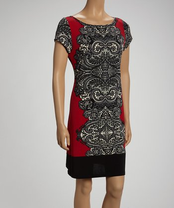 Red & Black Arabesque Shift Dress