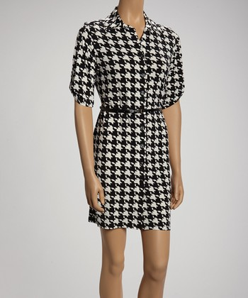 Black & Ivory Bold Houndstooth Shirt Dress