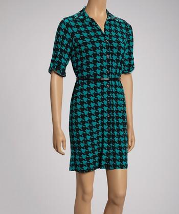 Black & Teal Bold Houndstooth Shirt Dress