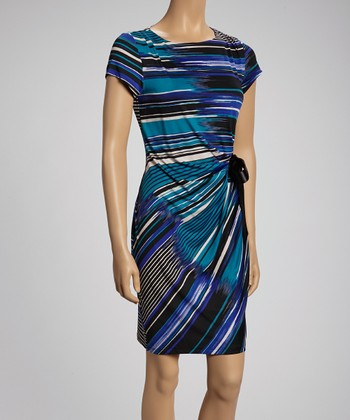 Blue & Black Striking Stripes Short-Sleeve Dress