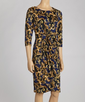 Black & Royal Status Three-Quarter Sleeve Dress