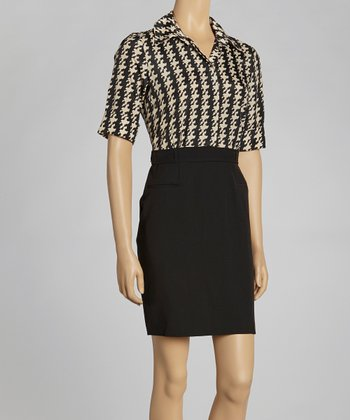 Champagne & Black Abstract Houndstooth Button-Up Dress