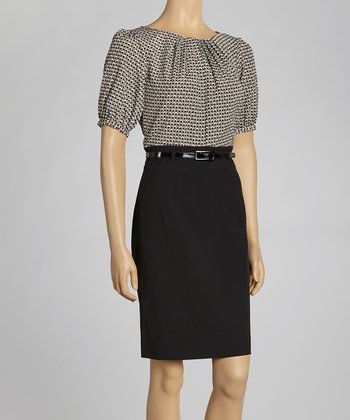 Black & Ivory Square Tile Belted Dress