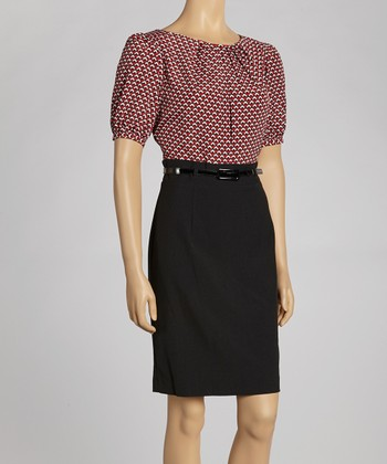 Black & Red Square Tile Short-Sleeve Dress