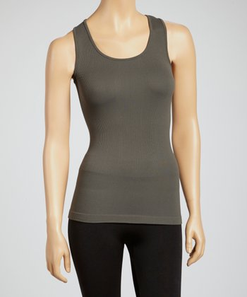 Charcoal Ribbed Racerback Tank