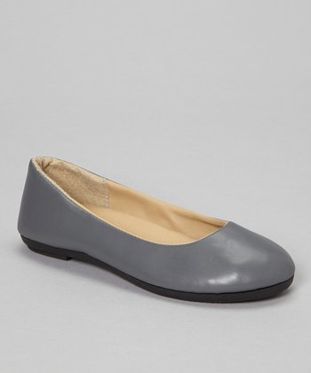 Gray Faux Leather Flat