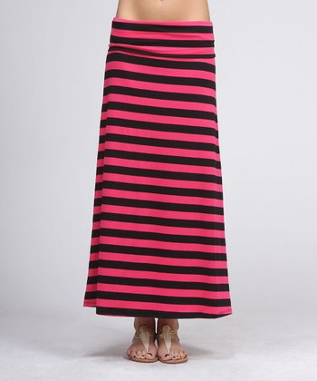 Fuchsia & Black Stripe Maxi Skirt
