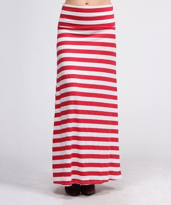 Red & White Stripe Maxi Skirt