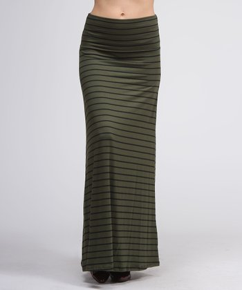 Olive & Black Stripe Maxi Skirt