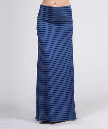 Royal & Black Stripe Maxi Skirt