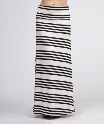 Black & Ivory Quad Stripe Maxi Skirt