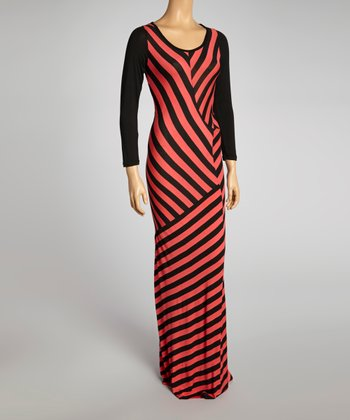 Peach & Black Geometric Stripe Maxi Dress