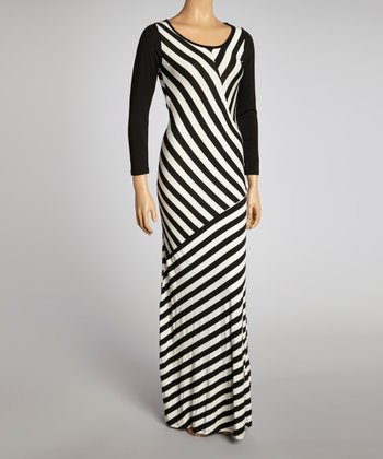 White & Black Geometric Stripe Maxi Dress