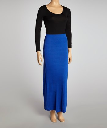 Royal & Black Color Block Maxi Dress