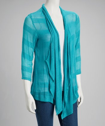Teal Stripe Open Cardigan