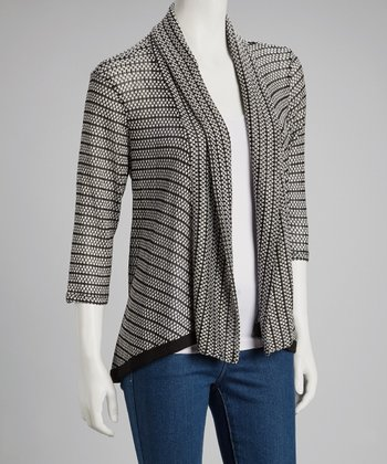 Black & White Stripe Open Cardigan