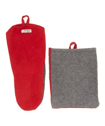 Red Wool Oven Mitt & Pot Holder
