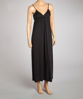 Black Sleeveless Surplice Maxi Dress
