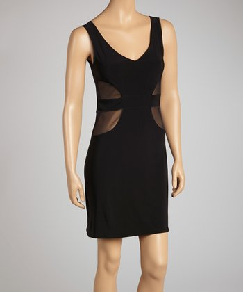 Black Double V-Neck Sleeveless Dress