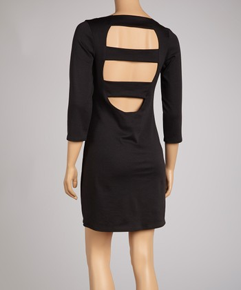 Black Three-Quarter Sleeve Cutout Dress
