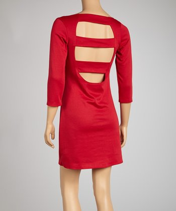 Red Three-Quarter Sleeve Cutout Dress