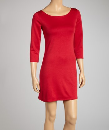 Red Cutout Three-Quarter Sleeve Dress